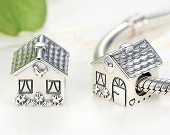 925 Sterling Silver Love Heart House charm