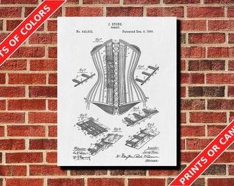 Corset Patent Print, Vintage Lingerie Blueprint, Clothing Wall Art, Dressing Room Decor, Fashion Decor