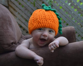 Crocheted Baby Pumpkin Hat