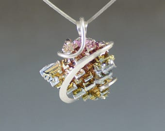Bismuth Asymmetric Cold forged Sterling Silver Pendant