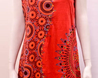 Funky Boho Patchwork Abstract Floral Stitch Sleeveless Tunic Dress Red Size 14 16