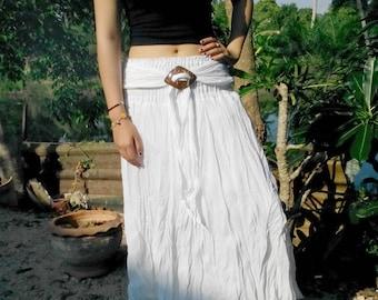 Gipsy Skirt  Floaty Summer Buckle Prairie Gypsy  White