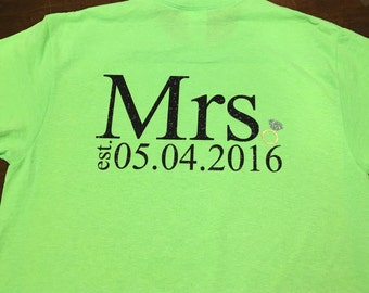 "Custom Monogrammed ""Mrs."" Bridal Date Shirt"