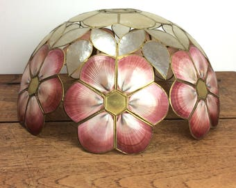 large pink and white shell lampshade