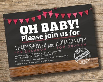Couples Baby Shower Invitation, Co Ed Baby Shower Invite, Diaper Party, Oh
