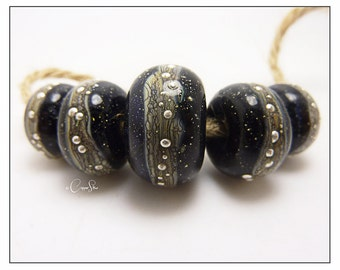 Handmade Lampwork Black and Silvered Ivory Glass Bead Bracelet or Necklace Set with Fine Silver Detail - Galaxy