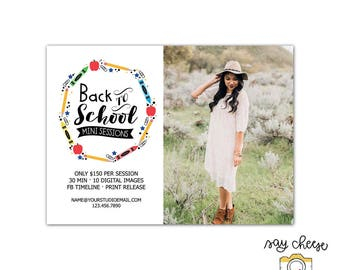 5x7 Back to School Mini Session Template, Marketing Board, Photography Marketing Template, Mini Session Marketing, Photography Branding M-05