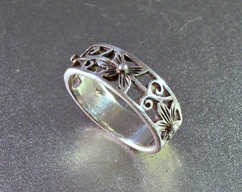 Sterling Cigar Band Ring, Orchid Flower, Open Work, Wedding Ring, Size 7