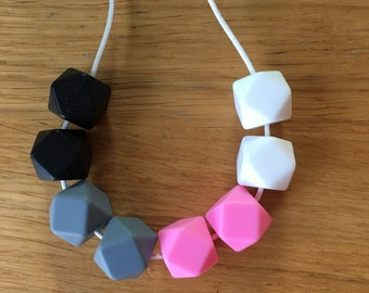 Teething & Nursing Necklaces - baby Inspired Sensory Necklace pink, white, grey and black