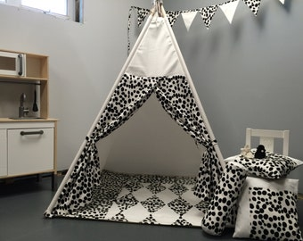 Tent Tepee together, toys and games, teepee, cabin, child toy, hiding, child teepee, tent, black and white