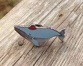 Whale in a Hat Pin, brooch, humpback whale, red hat, wearable art, illustration, hardenamel pin, label pin