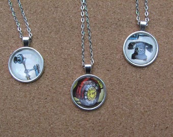 Telephone Pendants with Vintage Images (Bunty)