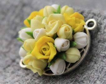 Polymer clay beads flower, polymer clay flower connector, flower beads, polymer clay flowers cabochon, polymer clay cabochon, clay flower