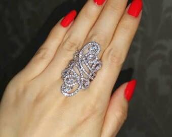 CZ & Sterling Silver Swirl Fashion ring - Size 10