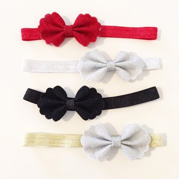 Sparkle Bow Headbands | Vintage Style Scalloped Bows + Sparkle Elastic Headbands for Baby Toddlers Girls, Christmas + Holiday Bow Headbands