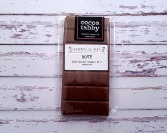 Rose - Milk Chocolate Bar. Handmade from Belgian chocolate. Gluten free.