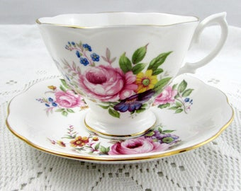 Royal Albert Tea Cup and Saucer with Flowers, Vintage Bone China
