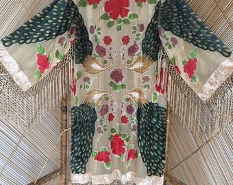 Kimono jacket,velvet jacket,fringe jacket,burnout jacket,devore jacket.gypsy boho,plus size,wearable art,devore kimono,burnout kimono