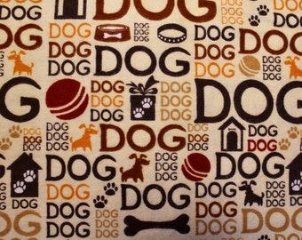 "Fabric Bundle, Flannel ""Dog"" Print, Brown Tan Rust Orange, Dog Blanket Fabric, 12 Ounces"