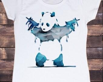 Women's White T-shirt Banksy 3D Panda with Machine Guns  Print TS337
