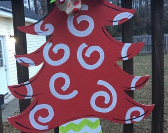 Christmas Tree Wooden Door Hanger