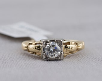 Two Tone Art Deco Diamond Solitaire Engagement Ring
