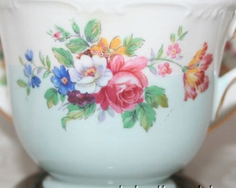 ON SALE Free US Ship Aynsley England Tea Cup and Saucer Hpt Spring Flower Tulip Molded Green 2420/1
