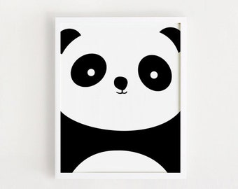 printable nursery art Panda print Panda Poster Black and White art Simple Cute Wall art Kids room Decor 8x10 INSTANT DOWNLOAD