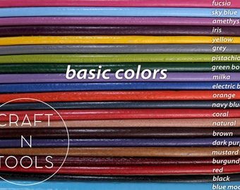 Round Leather Cord - Basic Colors (3.0 - 5.0mm)/Wrap Leather Cord/Wrist Bracelet Cord/Natural Leather/Cuff Leather Cords