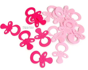 "Mixed Pink Pacifier 1"", 2"" Cut outs, Confetti, Embellishments - Set of  80pcs, 120pcs"