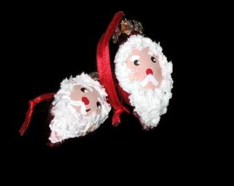 Vintage Santa Claus Ornaments, Vintage Christmas, Holiday Decor, Santa Claus, Bulb Ornaments, Handmade Santa, Vintage Santa, Hanging Santas