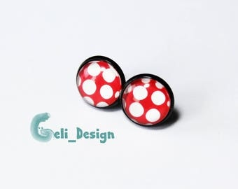 Earrings cabochon dots red white
