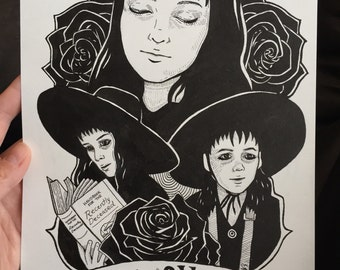 Original Art, Original Drawing, Lydia Deetz Art, Beetlejuice Art