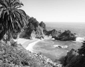 California Beach Photography, Black and White, McWay Falls, Big Sur, Landscape, Fine Art Print, Coastal Decor, Ocean Print, Wall Art