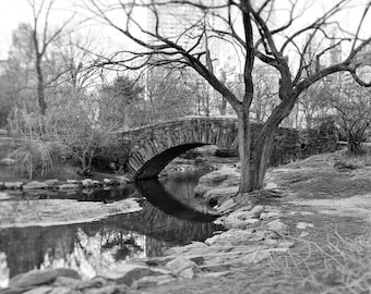 Gapstow Bridge, Central Park, New York Photography, Black and White Print, Landscape, Nature, Romantic, NYC, Wall Art, Home Decor