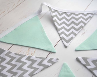 Grey and Mint Nursery Bunting - Grey Chevron Bunting - Grey Chevron and Mint Bunting - Nursery Bunting