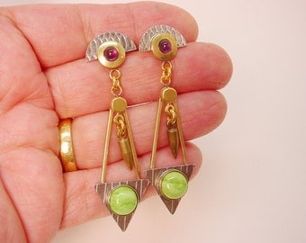 Silver and Brass Earrings Mixed Metal Dangles with Amethyst and Gasperite Sterling Posts Funky Modern