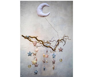 """""""Star in the eyes"""" baby mobile with Garland Firefly - custom"""