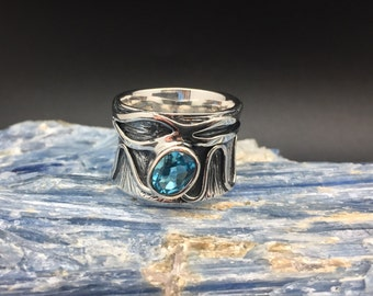Wide Band Blue Topaz Ring // 925 Sterling Silver // Etched Oxidized Setting // Designer Blue Topaz Ring