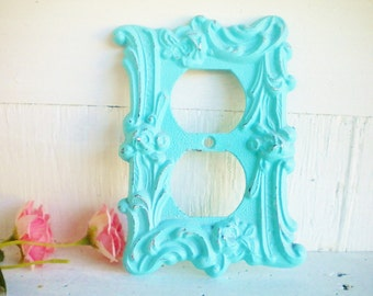 Shabby Vintage Light Switch Cover/2 Way Light Switchplate /Vintage Metal In Aqua Blue/Wall Decor/Shabby Beach/ Price For 1