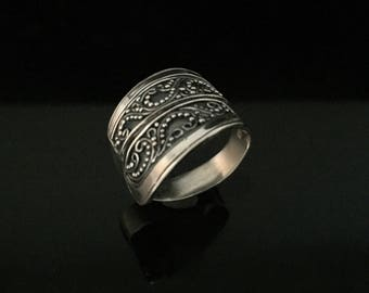 Beaded Bali Ring // 925 Sterling Silver // Wrap Around Sterling Bali Ring