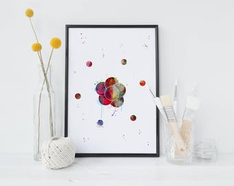 Atom Watercolor Art Print Science Art Print Symbol Particle Art illustration Wall Art Gift Decor Poster Wall Decor Universe (Nº12)