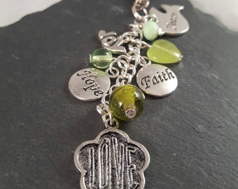 Faith hope love joy peace bag charm - inspirational gift - Christian gift - get well gift - thinking of you gift - religious gift