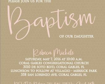 Baby girl Baptism Lace Invitation (Digital)