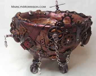Small Steampunk Polymer Clay Dragon-Foot Cauldron