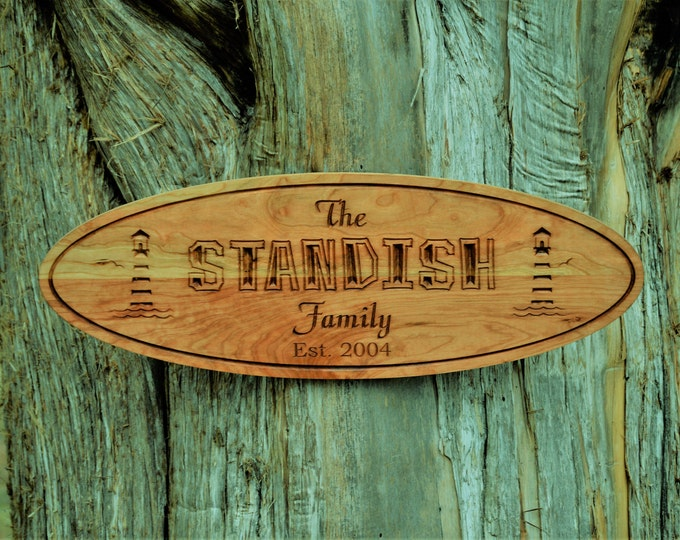 Beach Sign Light House Wood Sign Light House Plaque Sign Beach House Sign Lake House Decor Nauitical Last Name Sign Custom Carved Wood Sign