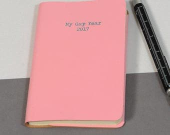 Leather pocket notebook - 'My Gap Year 2017'