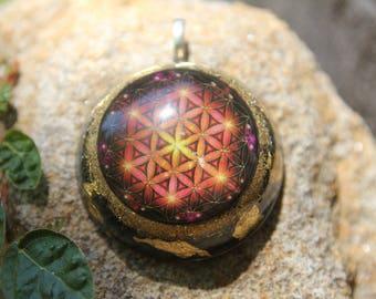 Flower of life cube orgonite pendant