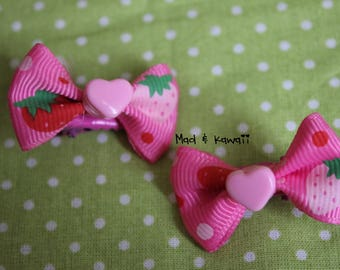 Duo of mini barrettes pink