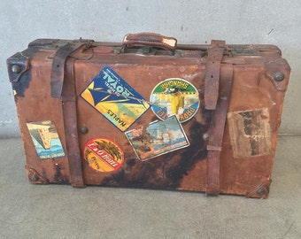 Vintage Leather Travel Suitcase (WHBTRG)